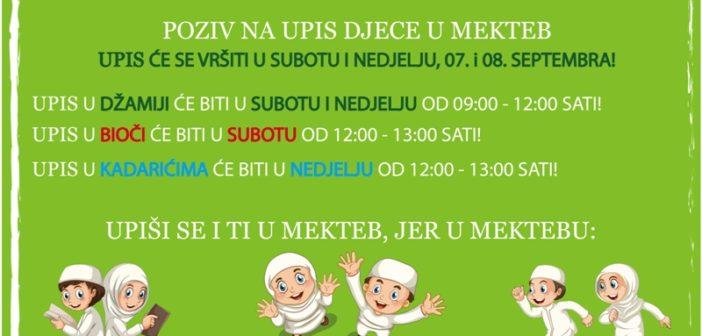 POZIV NA UPIS DJECE U NOVU MEKTEBSKU GODINU!